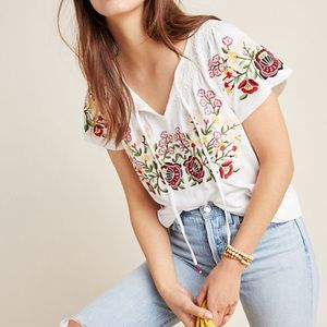 Anthropologie Elodie embroidered blouse